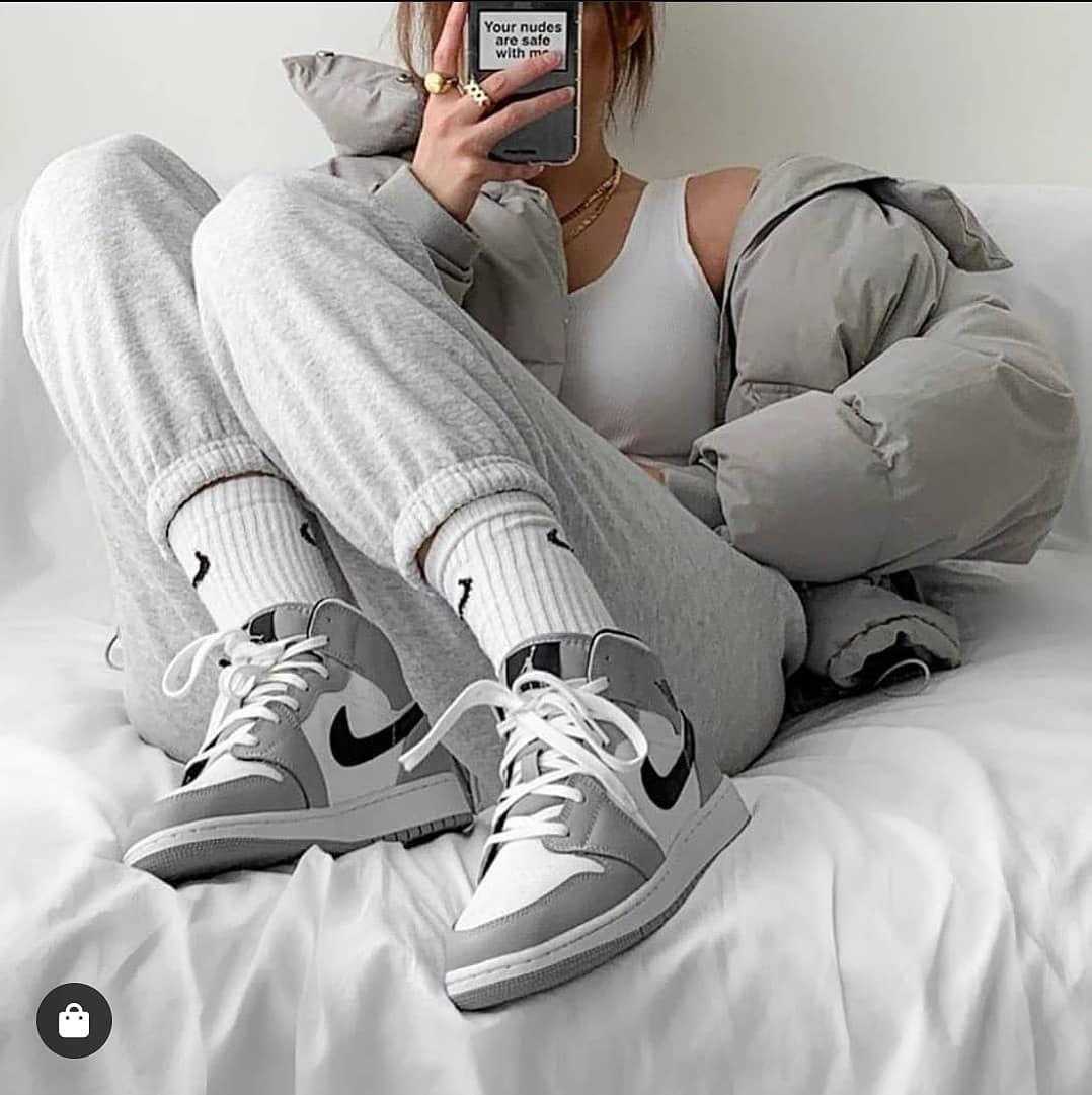 grey jordans outfit