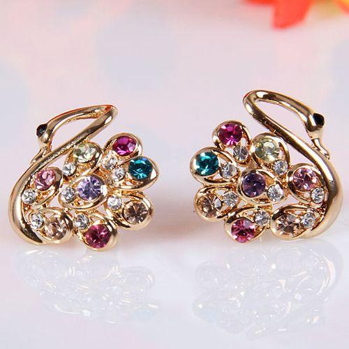 6 11 Stylish Women S Rhinestone Embellished Colourful Swan Pattern Stud Earrings