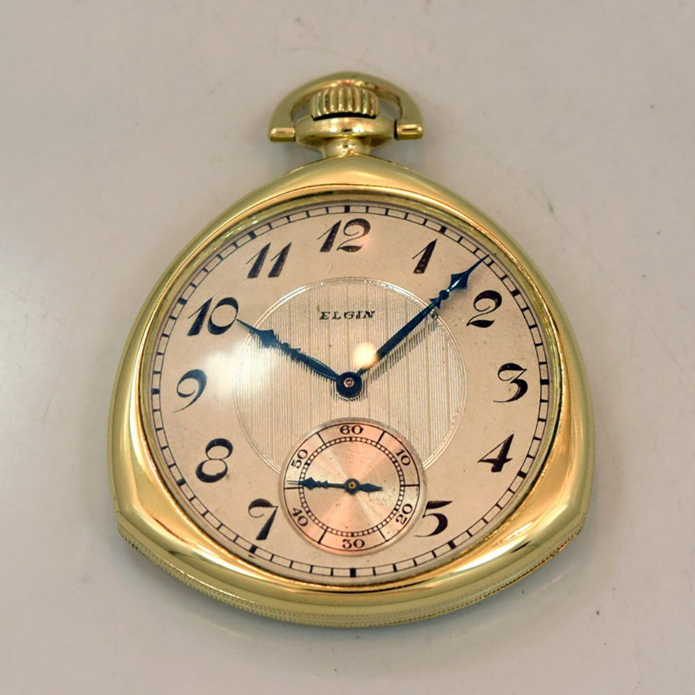 1923 Vintage Elgin Pocket Watch Yellow Gold Filled Unique Rounded  Triangular Shape with Two Tone Textured Silver and Gray Dial with Black  Breguet Numbers.