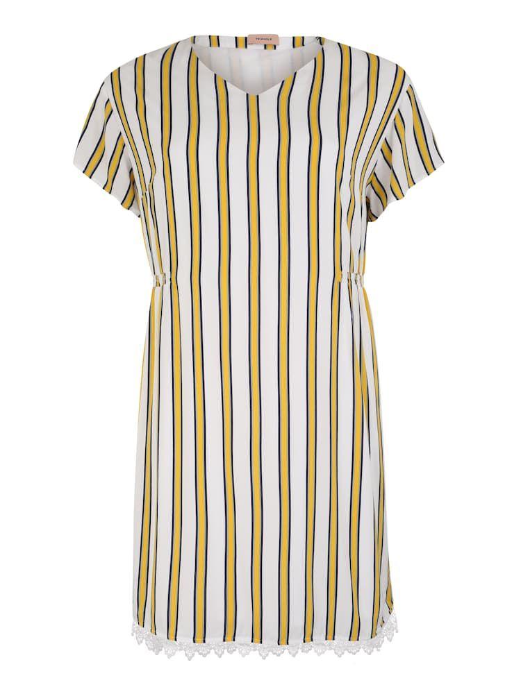 TRIANGLE Damen - Kleider 'KLEID KURZ' in gelb / weiß