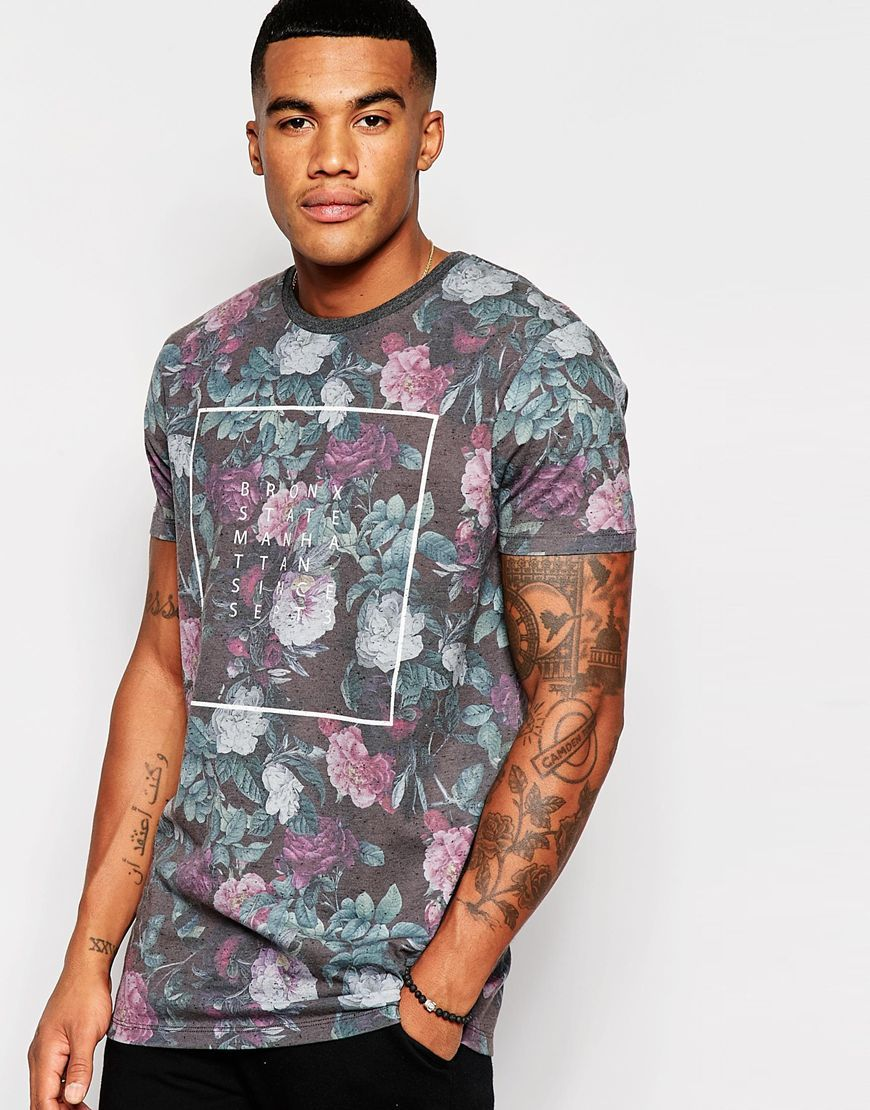 ASOS Longline T-Shirt With Floral Print On Nepp Fabric at asos.com