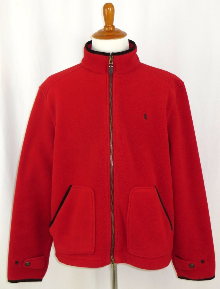 077526a5b2e9 Polo Ralph Lauren Mens Fleece Full Zip Jacket Pony Red with Leather ...