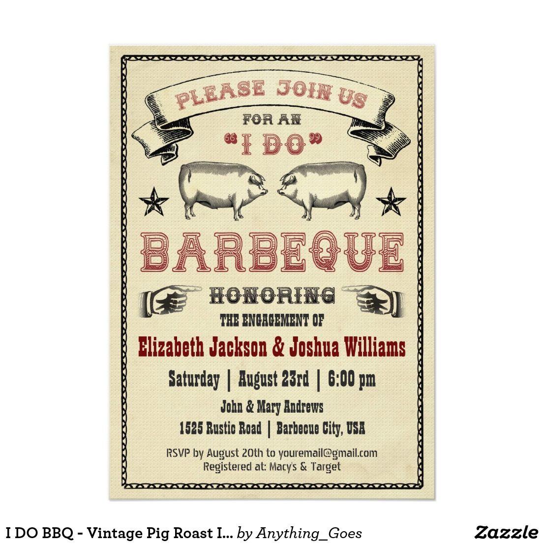 I DO BBQ - Vintage Pig Roast Invitation | Pig roast, Couple shower ...
