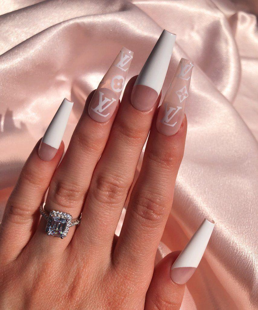 Lv Baddie Nail Set Best Acrylic Nails Acrylic Nails Long Acrylic Nails
