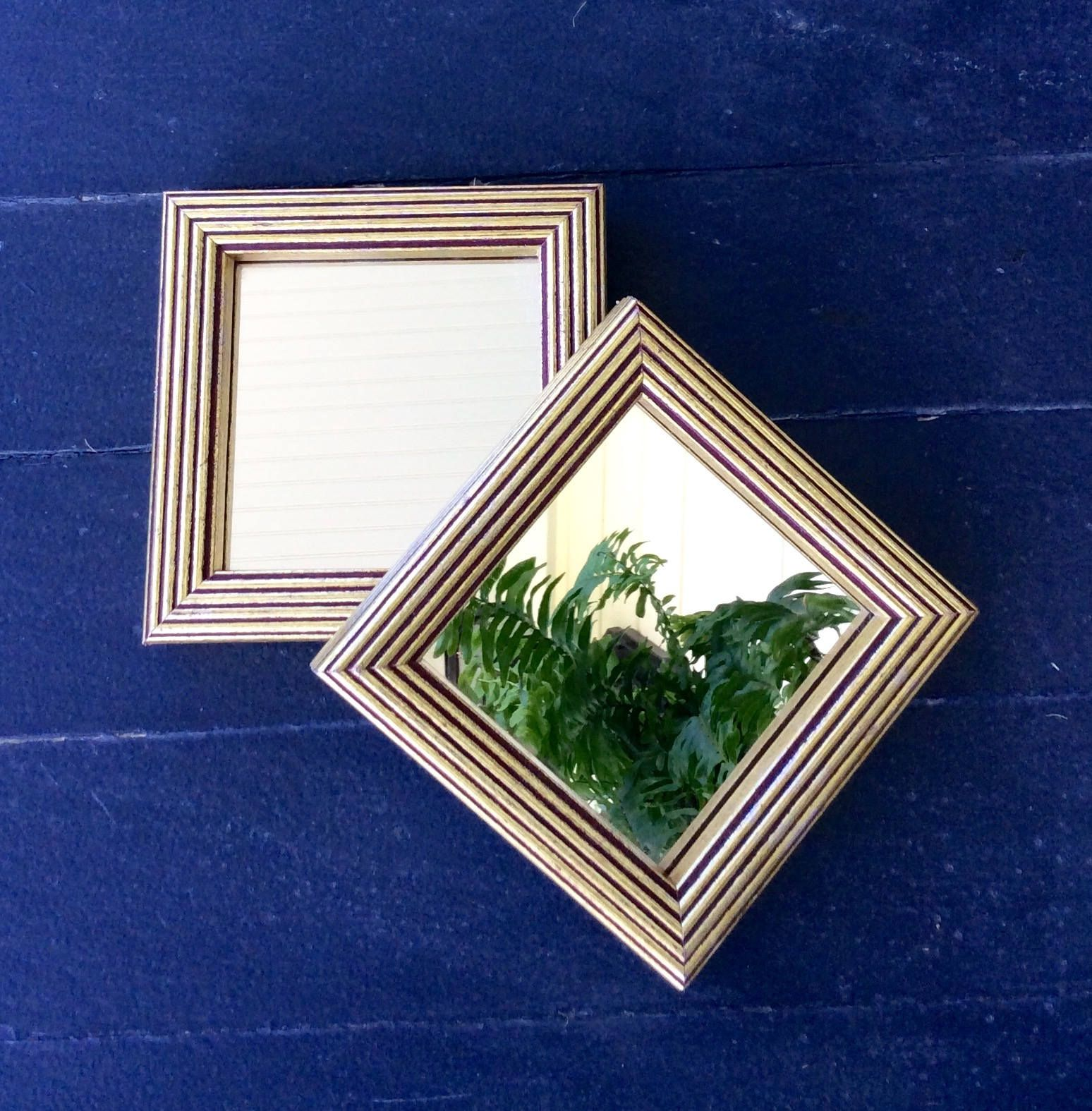 Vintage Gold Art Deco, Square, Wood Framed Mirror, Small Mirror,