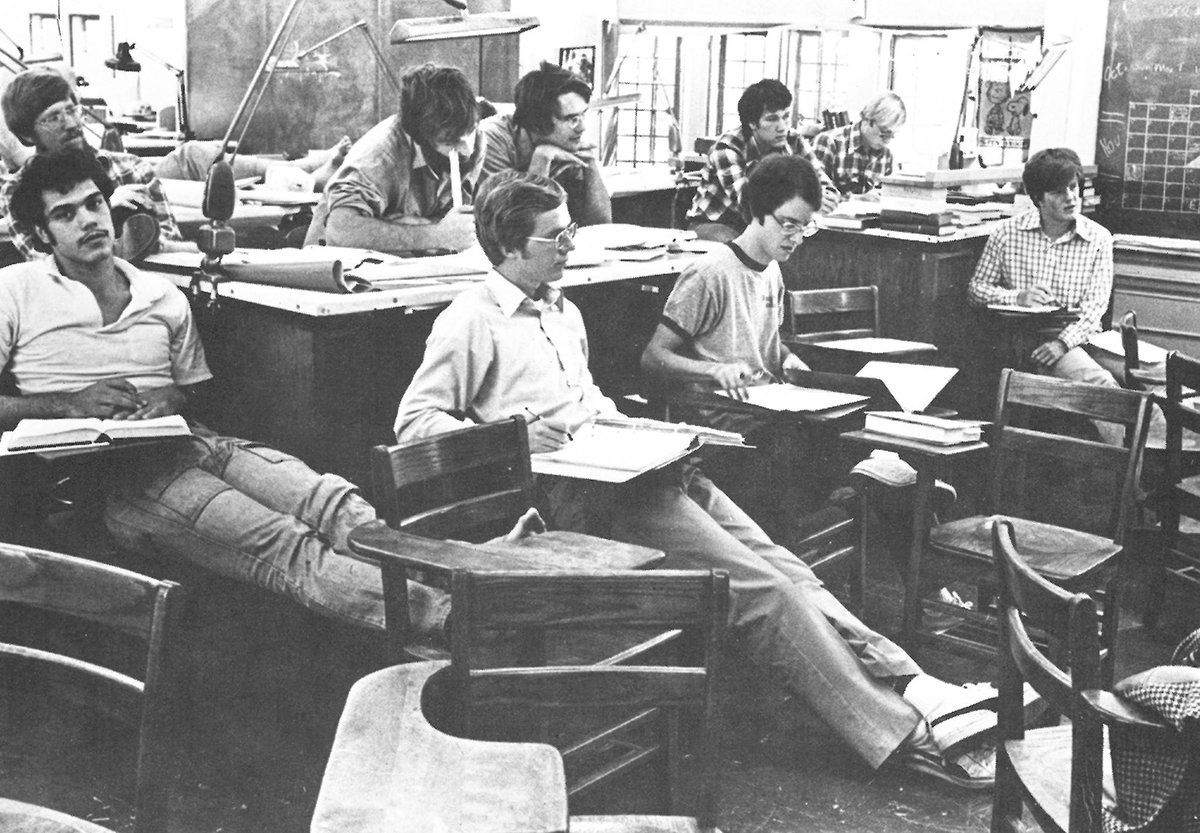 1978 photo of students at Webb Institute in Glen Cove, NY