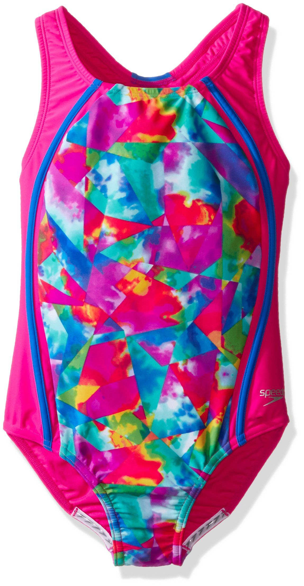 83741d681511d Speedo Girls Tie Dye Sky Sport Splice One Piece Swimsuit, Size 7,  Multicolor.