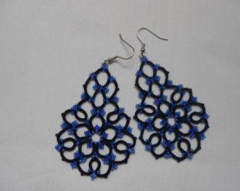 Black lace earrings black earrings with por TattingLaceJewellery