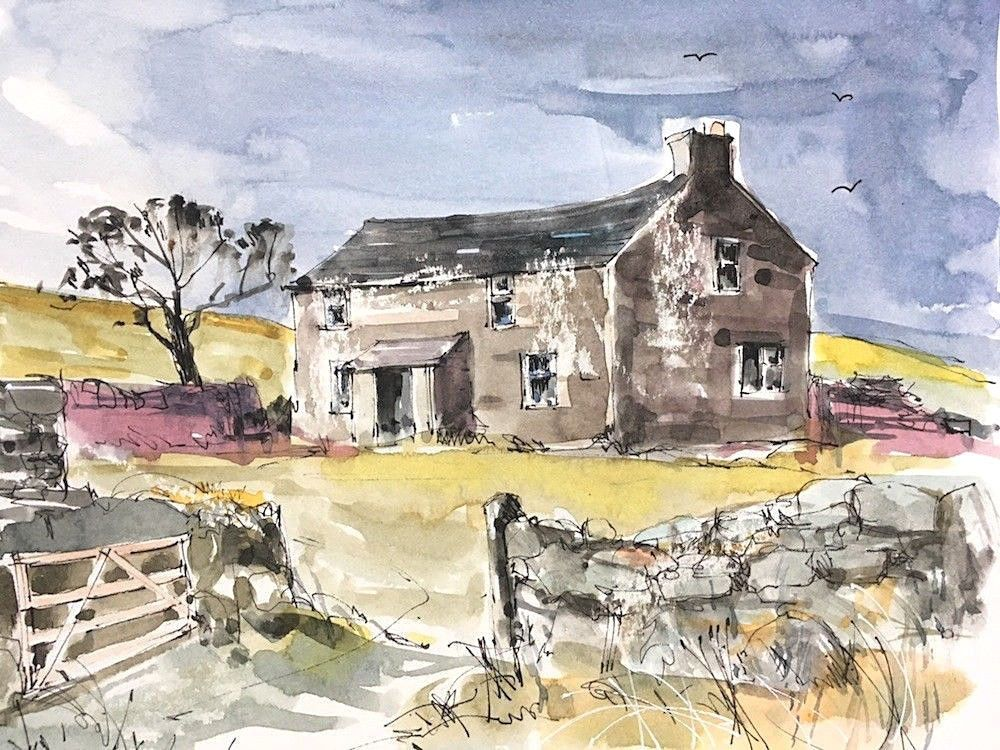 Signed Original Watercolour Old Farmhouse By Annabel Burton