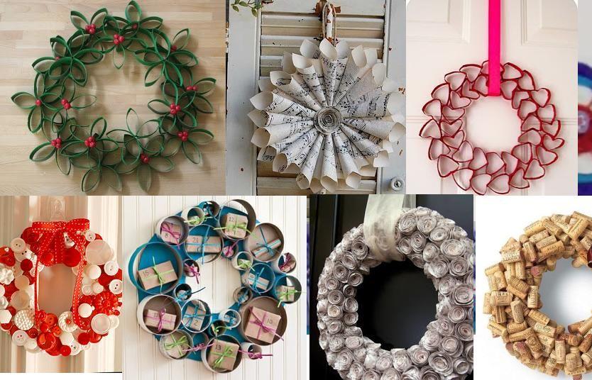 Ideas para hacer una corona navide a todo con reciclaje - Decoraciones navidenas con reciclaje ...