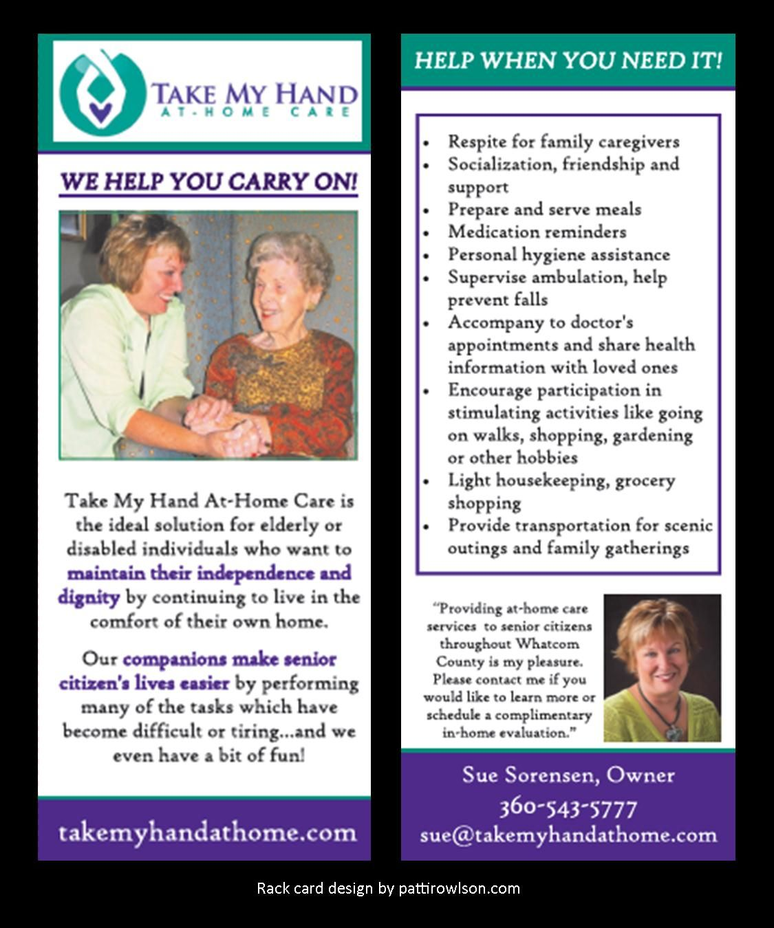 Rack Card For Home Care Service Company