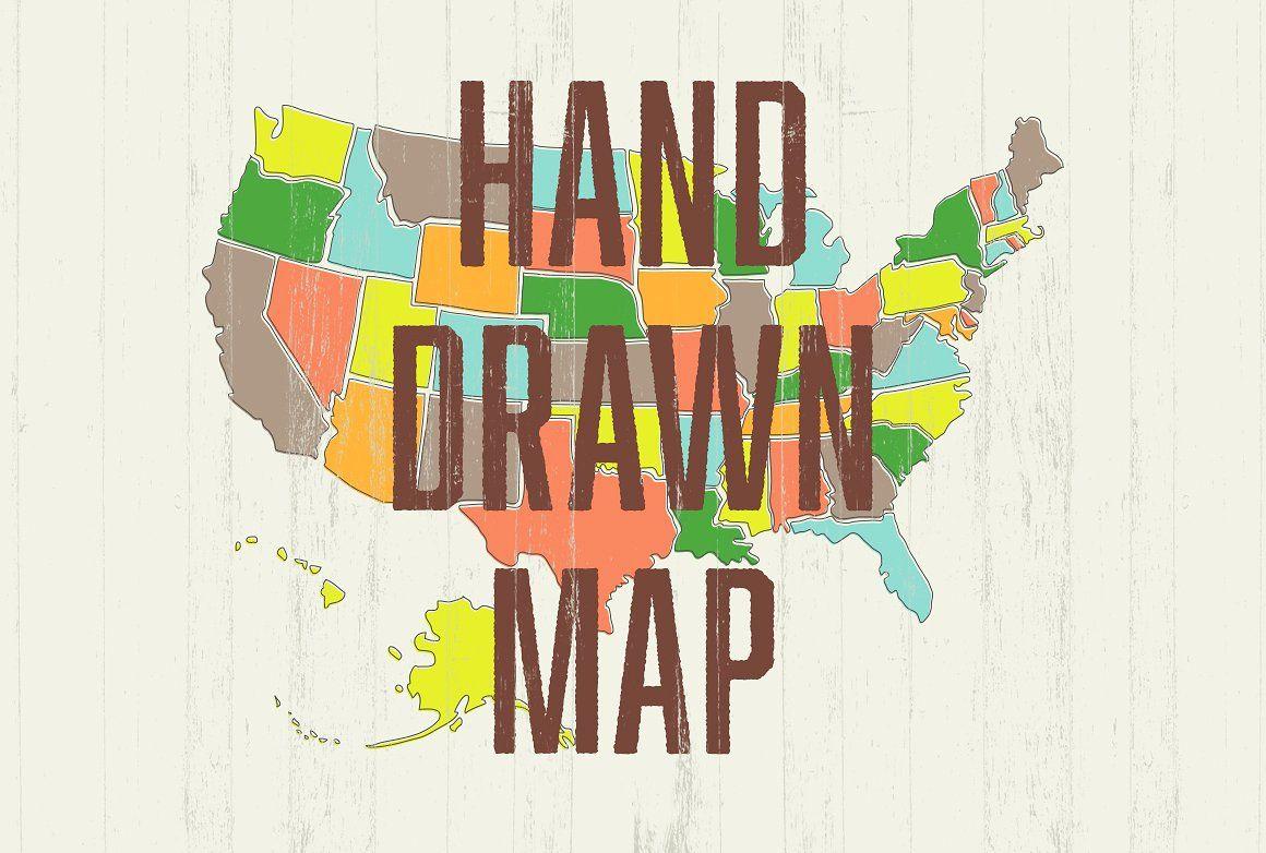 Hand Drawn US Map #files#neatly#PSD#Illustrator   Design Inspiration ...