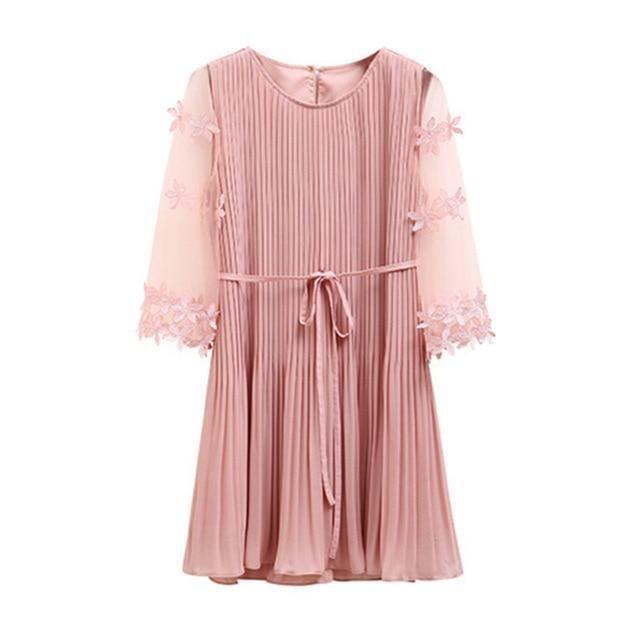 Fashion Sweet Style Female Dresses Summer Short Sleeve Slim Pink Dress 2019 New Women Korean Black Elegant Dress - Pink / L