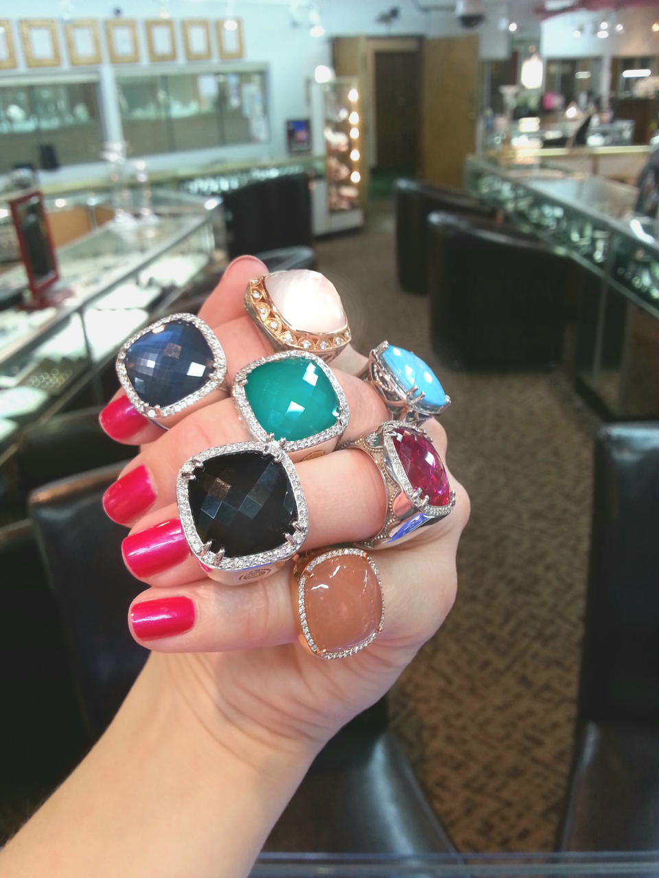 colorful tacori cocktail rings blue quartz over hematite pink mother of pearl green green onyxblack