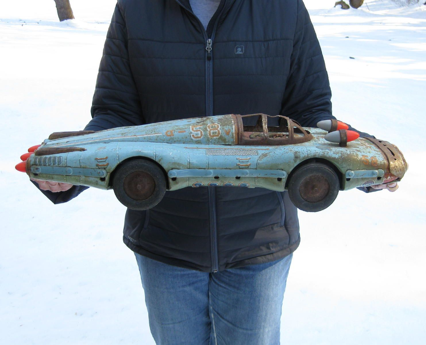 rare 1950s yonezawa atom jet tin space age friction car toy for parts or repair ebay [ 1483 x 1200 Pixel ]