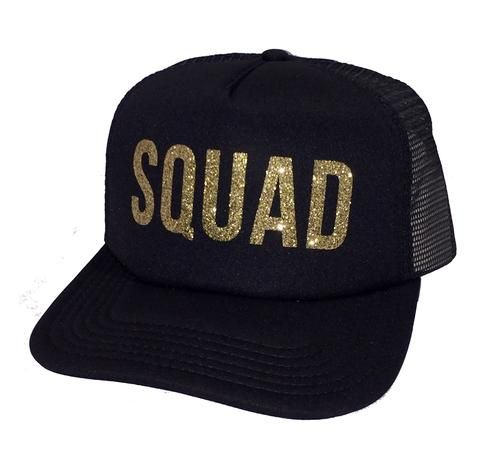 a9fe2b68a79 Squad Glitter Trucker Hat. When Checking out please choose color of hat  desired. Black White option is the contrast hat with black mesh and white  front ...