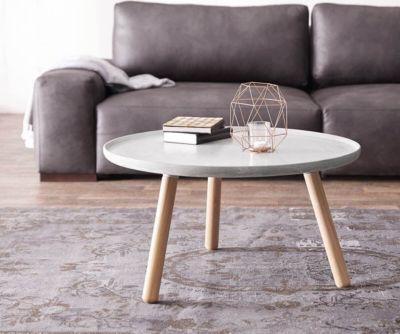 Dekotisch Alexej 78 cm Grau Beton Beine Eiche Bauhausstil - wohnzimmer eiche grau