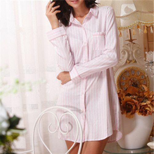 2016 Brand Striped Cotton Nightgowns Sleepwear Female Sleep Lounge Women Indoor Clothing Sexy Pink Home Dress Nightdress