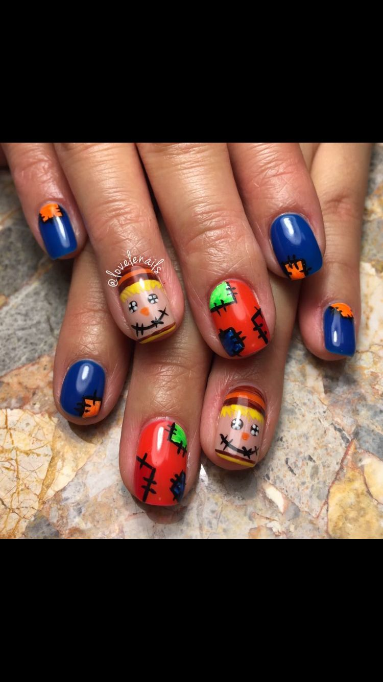 Shellac Scarecrow fall nail design (With images) | Fall ...
