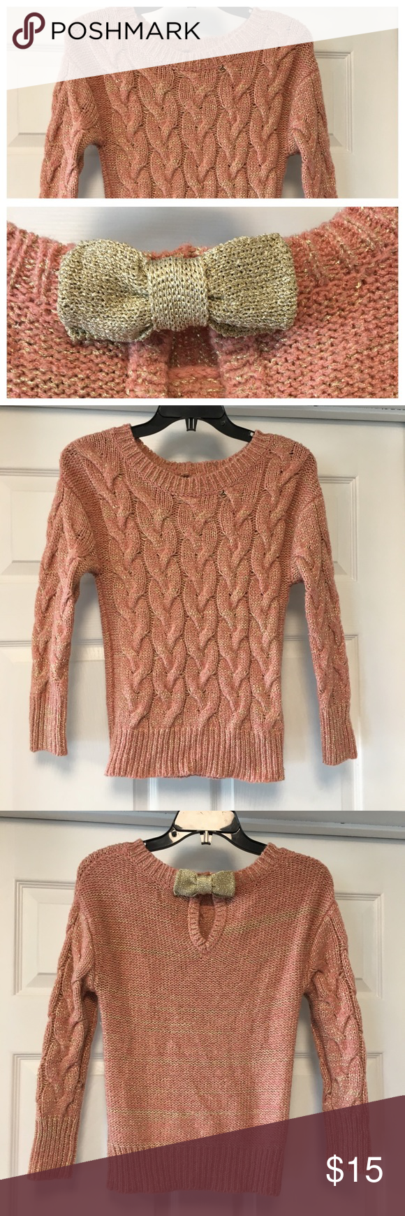 Peach and Gold Cable Knit Bow Sweater