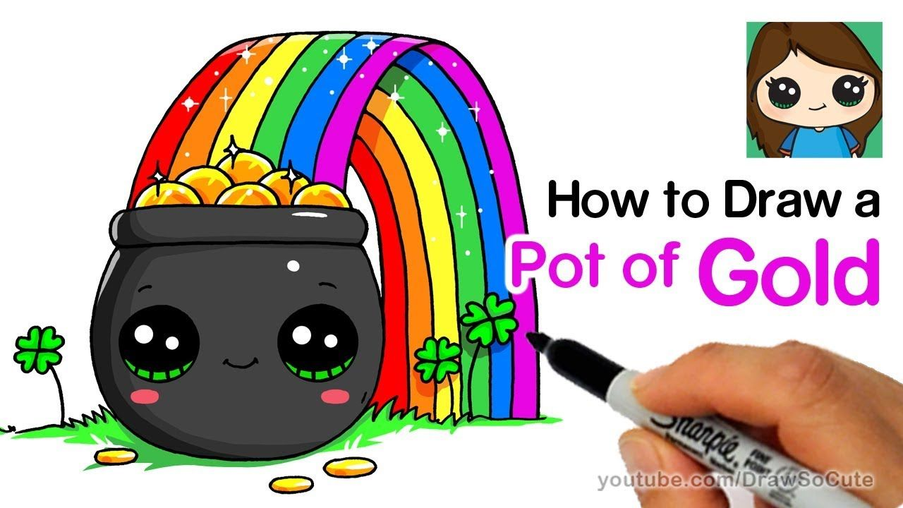 How To Draw A Pot Of Gold With Rainbow Easy Rainbow Drawing
