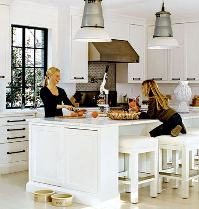 White, Cottage Kitchen. Love the dark window