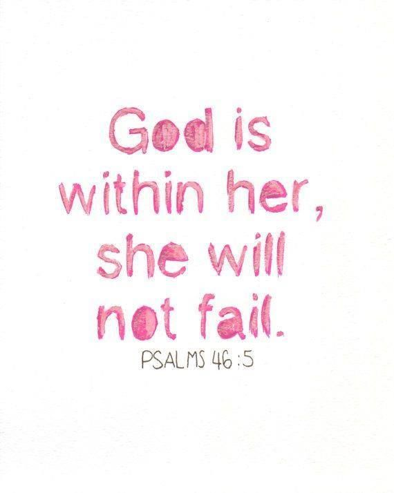 God is Within Her Christian Wall Art Hand Lettered PRINT of Watercolor Painting Psalms 46:10