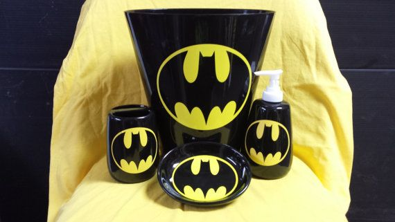 Captivating Batman Bathroom Accessory Set By JaxonGraphicDesigns On Etsy