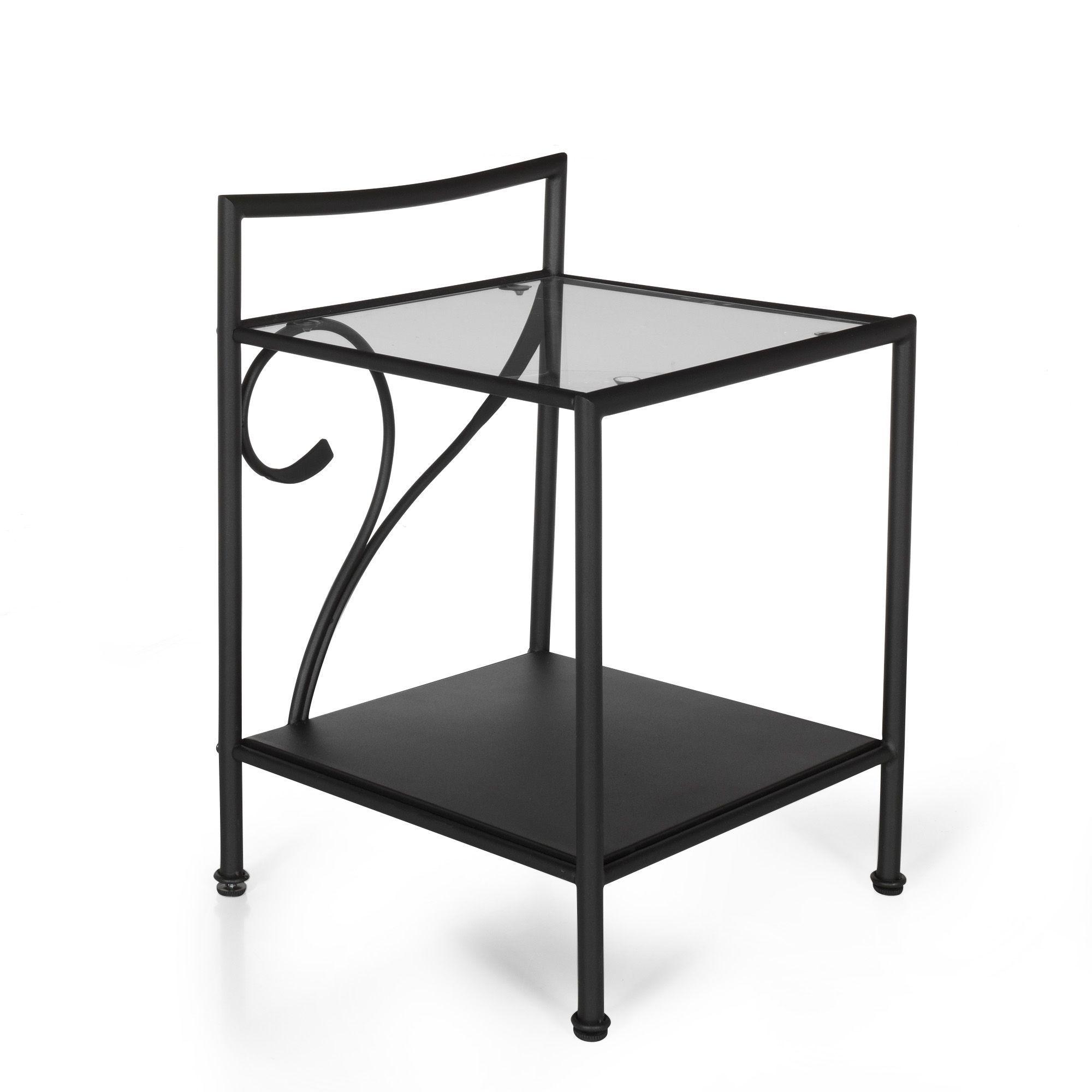 table de chevet en mtal noir antalya les tables de chevet chambre - Table De Nuit Alinea