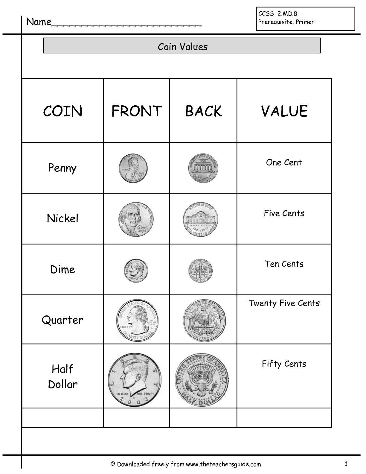 Money Worksheets For Kindergarten Coin Value Chart