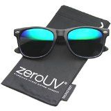 zeroUV – Flat Matte Reflective Mirror Color Lens Large Horn Rimmed Style Sunglasses – UV400 (Classic | Black / Midnight)