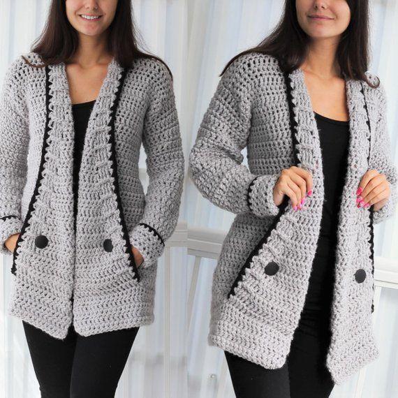 Crochet pattern -Patron crochet-Mia Crochet cardigan PDF -women crochet vest pattern-crochet sweater- 7/9y-10/12y- XS- S -M -L –XL- 2XL- 3XL #sweatercrochetpattern