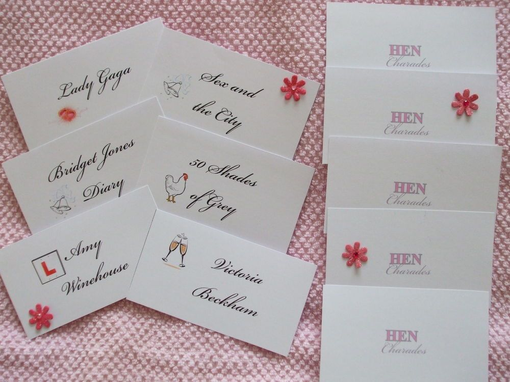 Hen night party games hen charades 30 x cards girls night