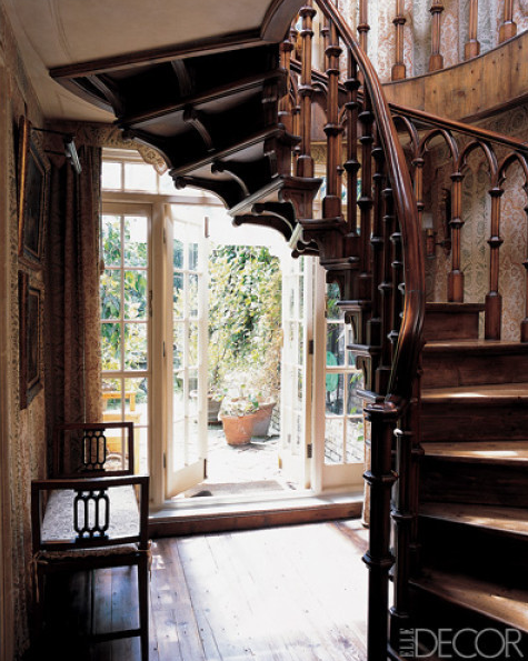 I love the neo-gothic detail on this staircase!