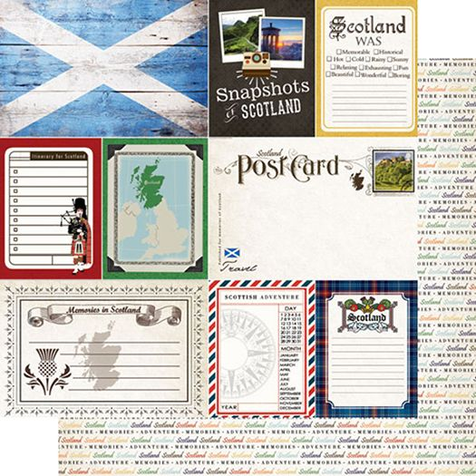 Scrapbook Customs - Travel Photo Journaling Collection - 12 x 12 Double Sided Paper - Scotland at Scrapbook.com