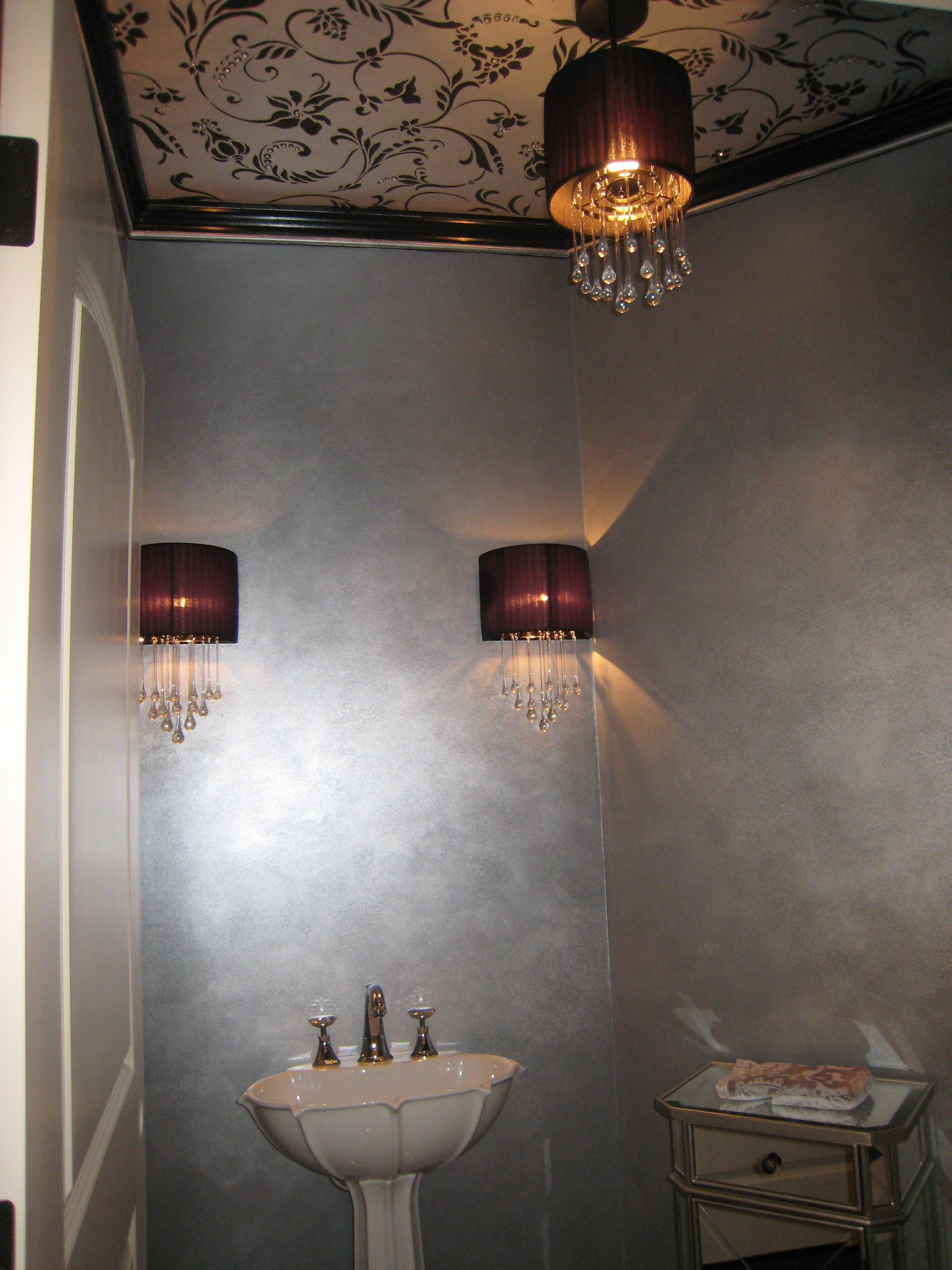 Powder room with metallic paint on ceiling stencil and - How to prepare bathroom walls for painting ...