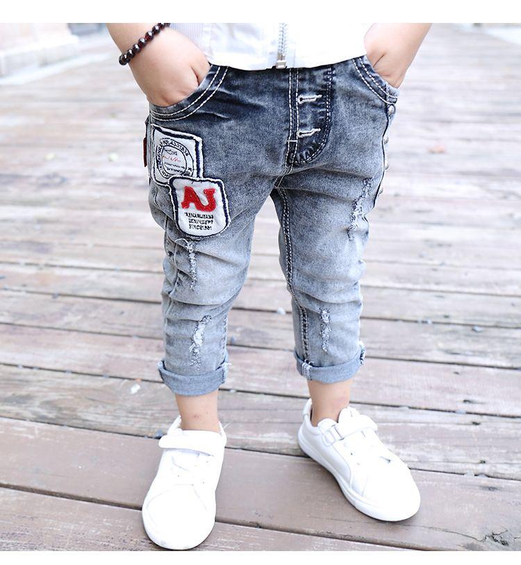 61ad488a6 cowboys jersey boys jeans kids letter patchwork cotton fashion baby boy  leggings children trousers designer jeans clothes 2-7T