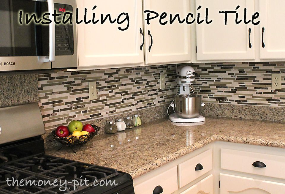 How To Install A Pencil Tile Backsplash And What It Costs Kitchen Redo Kitchen Glass Tile Backsplash