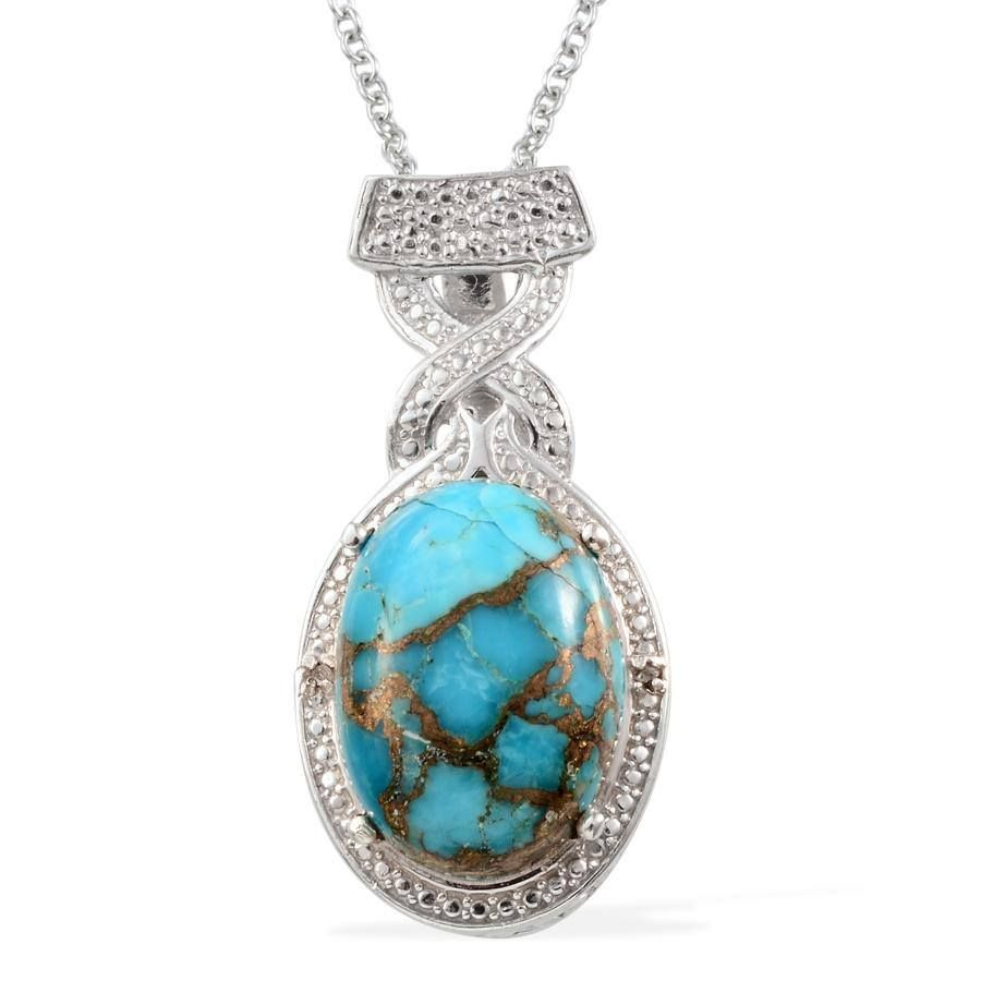 Mojave Blue Turquoise (Ovl 9.35 Ct), Diamond Pendant in Platinum Overlay Sterling Silver Nickel Free With Stainless Steel Chain (20 in) TDiaWt 0.01 cts, TGW 9.360 cts.~ Retail Value [$156.00] - Purchase Price [$65.00]