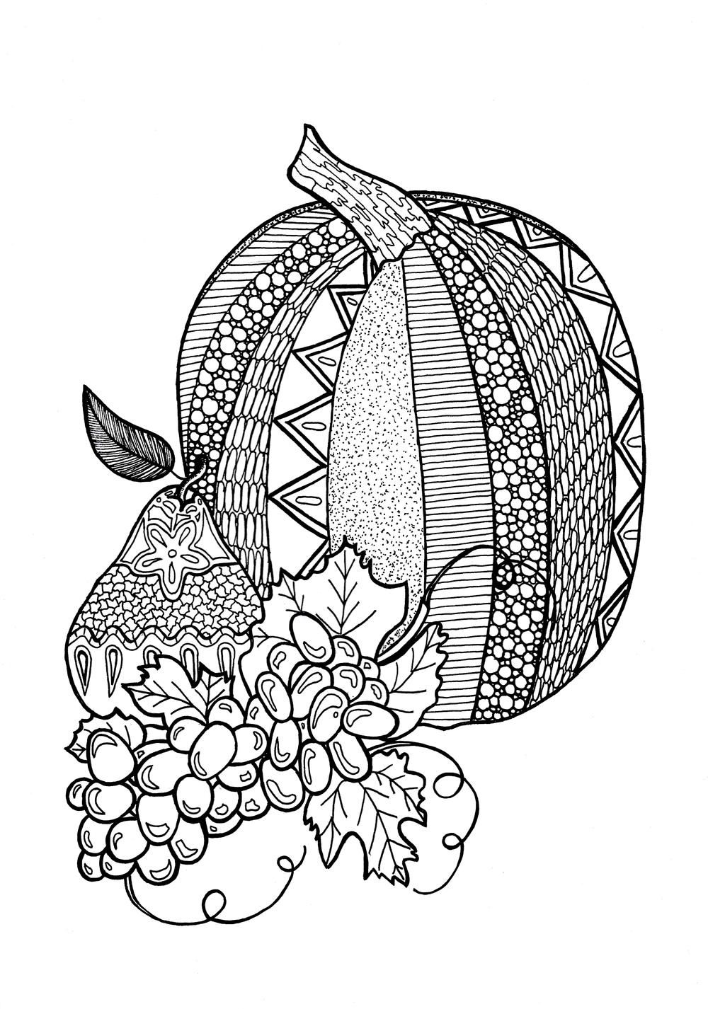 Textured pumpkin adult coloring page adult coloring thanksgiving