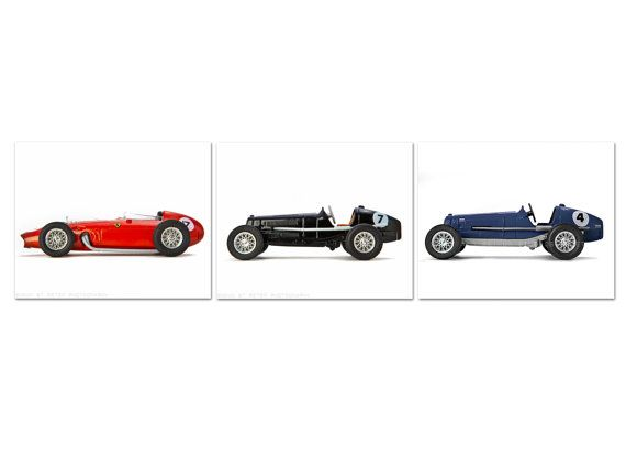 Vintage Toy Race Cars Set Of Three Photo Prints Boys Room Decor