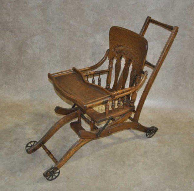 Converting Antique Oak High Chair / Stroller - Converting Antique Oak High  Chair / Stroller ஜ - Antique High Chair Converts To Stroller Antique Furniture