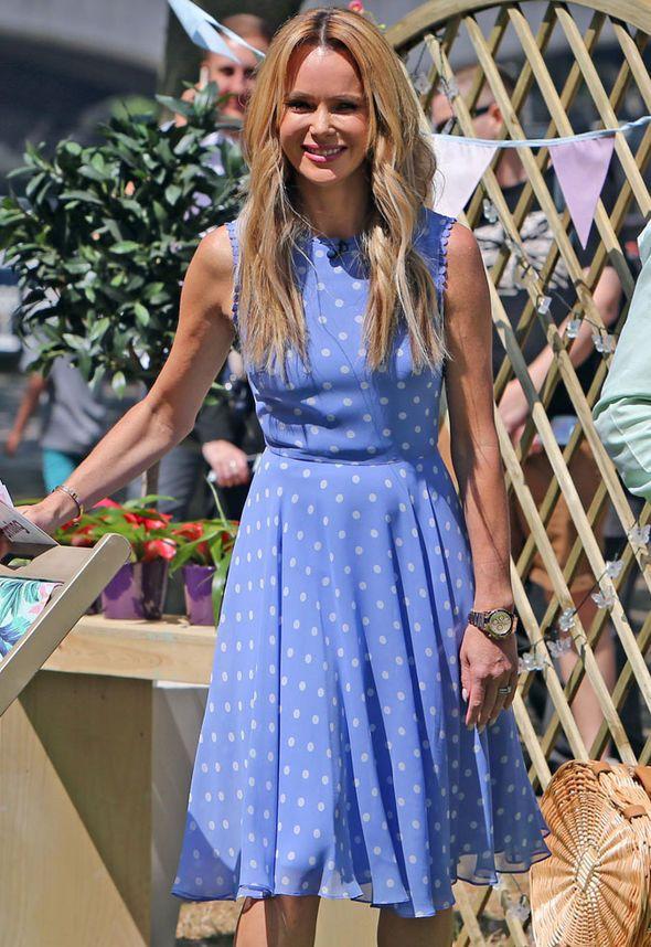 Amanda Holden Basks In The Sun In Pretty Polka Dot Dress As