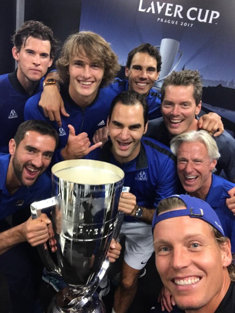 """"" But first, let me take a selfie. #TeamEurope #LaverCup [via Laver Cup] "" """