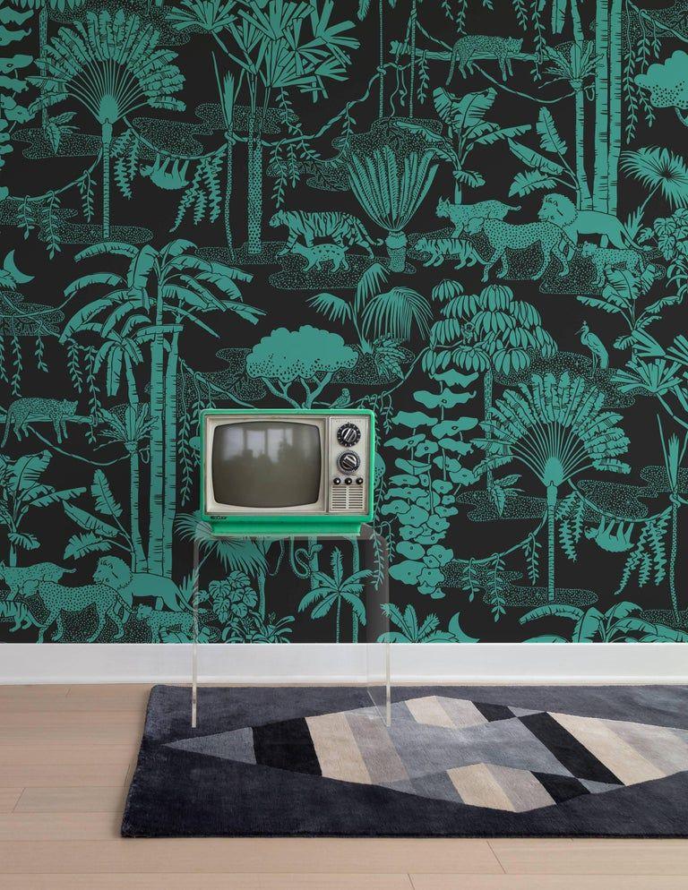 Jungle Dream Designer Wallpaper In Color Emerald Green And Black In 2021 Wallpaper Designer Wallpaper Print Wallpaper