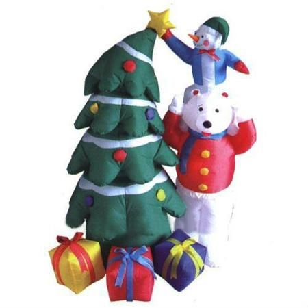 5 Inflatable Snowman And Polar Bear With Christmas Tree Lighted Yard Art Decoration Fake Christmas Trees Snowman Christmas Tree Diy Christmas Tree Ornaments