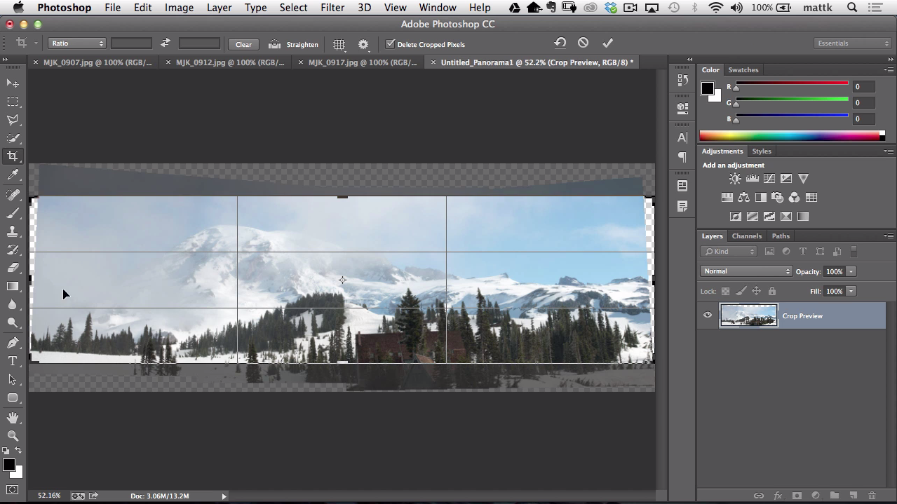 Stitching photos in lightroom