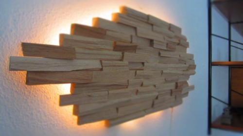 LED Designer Wandbeleuchtung Wandlampe Lampe Unikat aus Holz in