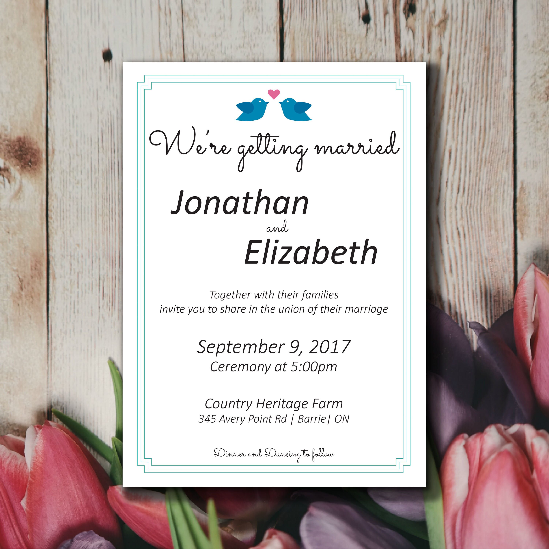 Cute Simple Wedding Invitation Template Lovebirds Wedding
