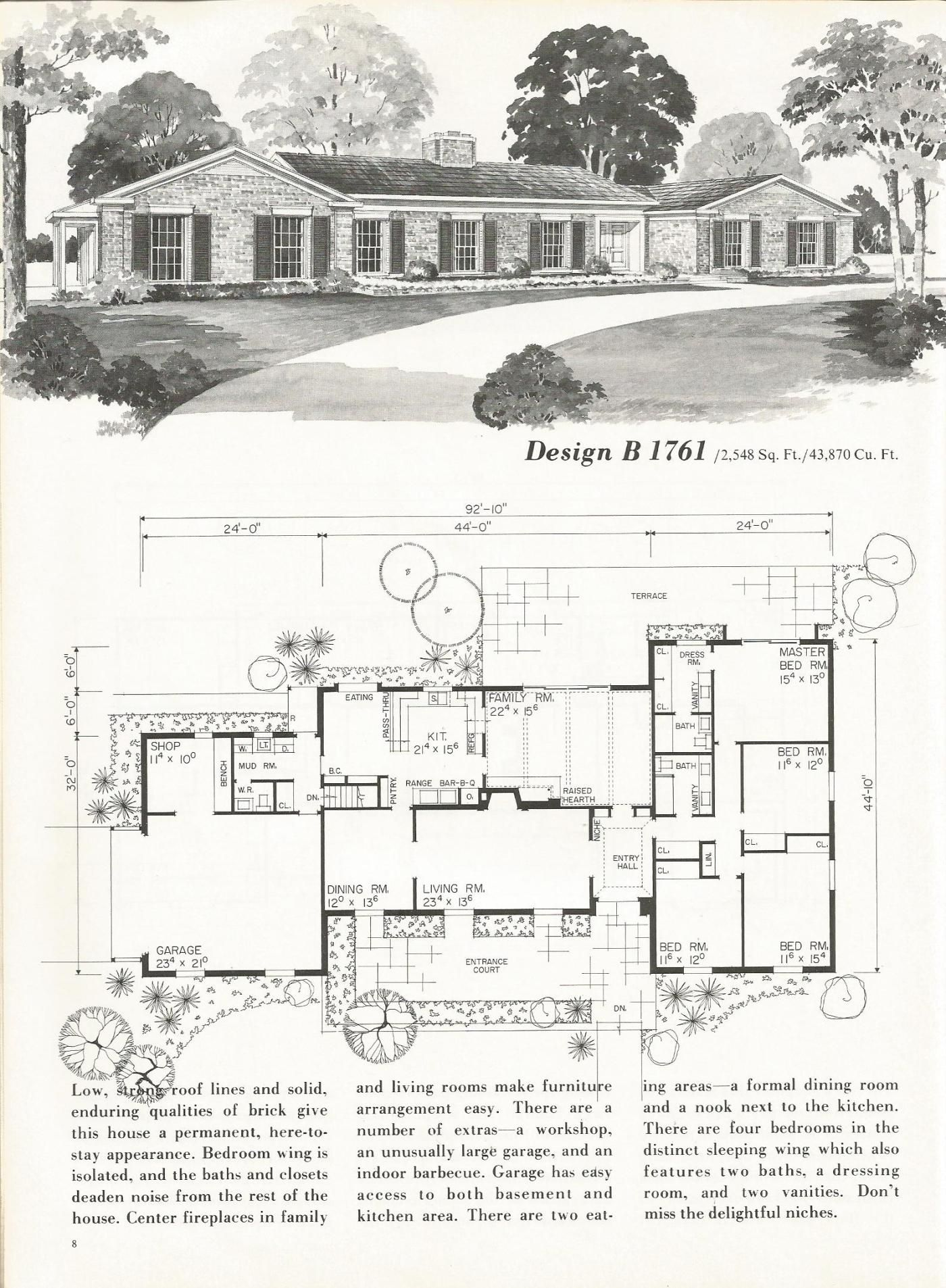 Favorite Front Of Old Ranch Plans Open Up Living And Steal Space For Master Bath Closet Vintage House Plans Ranch House Plans Colonial House Plans